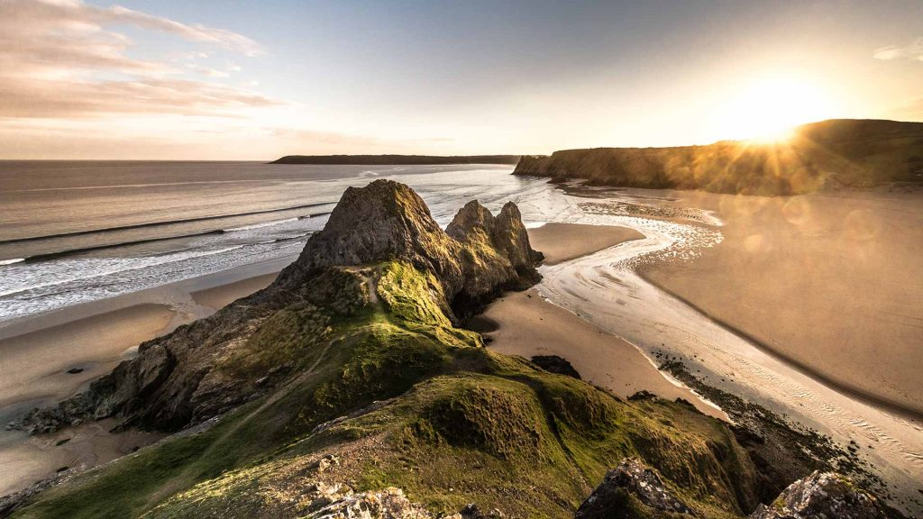 Sunset over Three Cliffs Bay on the Gower